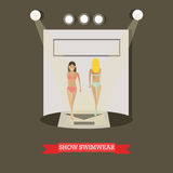 Show swimwear concept vector illustration in flat style Stock Photos