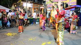 Show thailand dancing for traveler at Sunday Walking Street in Chaingrai stock video footage