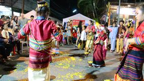Show thailand dancing for traveler at Sunday Walking Street in Chaingrai stock video