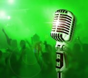 Show Time!!!. (Professional Mic & Crowd Of Fans Royalty Free Stock Photography