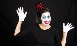 Show Time For Happy Dancing Female Circus Clown Stock Images