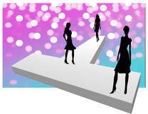 Show time. Under the bright lights of the fashion show Stock Illustration