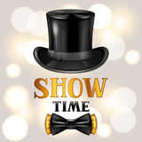 Show time card with cylinder and bow tie. Invitation to entertainment Stock Photography