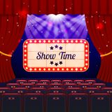 Show Time Concept. Cinema and Theatre hall with seats and Signboard. Vector illustration Royalty Free Stock Images
