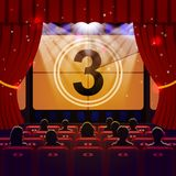 Show Time Concept. Cinema and Theatre hall with seats, silhouettes and countdown on screen. Vector illustration Stock Photo