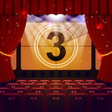 Show Time Concept. Cinema and Theatre hall with seats and countdown on screen. Vector illustration Royalty Free Stock Images