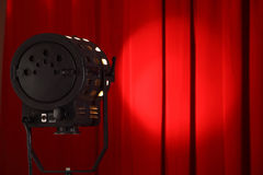 Show time. Curtains and spotted lights with space for your text Royalty Free Stock Image