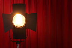 Show time. Curtains and spotted lights wtih space for your text Royalty Free Stock Images