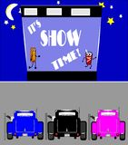 Show time at drive in. Illustration of drive in from 50's with screen text of show time with hot rods parked in front Royalty Free Stock Photo