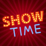 Show time neon and bulb letters advertisment Royalty Free Stock Photo