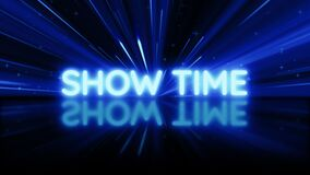 Show Time text message reveal with beautiful blue light background. Showtime bright blue neon light with reflection on the floor.