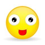 Show tongue emoji. Tease emotion. Put out tongue emoticon. Cartoon style. Vector illustration smile icon. Stock Image