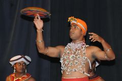Show in traditional Sri Lankian theatre - drum, dance and singing. Stock Images