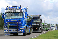 Show Truck Convoy with Scania R520 Clintan and Volvo FH Phil Col. JALASJARVI, FINLAND - AUGUST 6, 2015: Show truck convoy with Scania R520 Clintan and Volvo FH stock photography