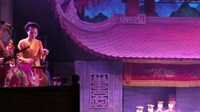 Show of Water Puppets in Ha Noi Thang Long Theater stock video