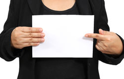 Show white paper. Business woman show and point to white paper Stock Images