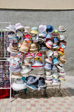 Show-window of hats from the sun Stock Photography