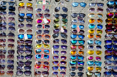 Show-window of sunglasses Royalty Free Stock Photo