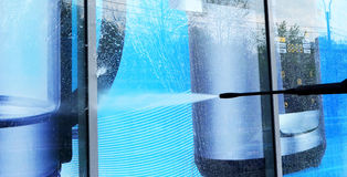 Show-window washing Royalty Free Stock Image