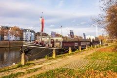 Showboat Theaterschiff Stuttgart, Frauenlob/- Zły Cannstatt, rzeczny Neckar Obraz Royalty Free