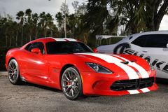 Showcar Dodge Viper red with white stripes Royalty Free Stock Photography