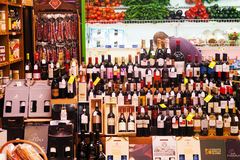 Showcase alcohol store in Logrono Stock Photo