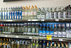 Showcase alcoholic beverages at the grocery store Stock Photo