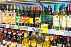 Showcase alcoholic beverages at the grocery store Stock Images