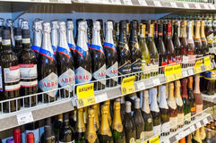 Showcase alcoholic beverages at the grocery store Stock Image