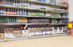 Showcase alcoholic beverages at the supermarket Dixi in Vyborg, Stock Image