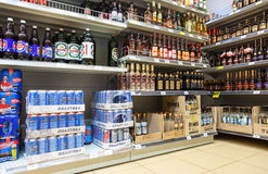 Showcase alcoholic beverages at the supermarket Dixi in Vyborg, Royalty Free Stock Photo