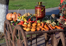 Showcase of artificial  vegetables  with samovar in cart Royalty Free Stock Photography