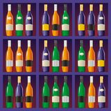 Showcase with bottles Stock Photography