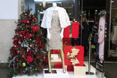 Showcase Christmas Shop With Mannequins, Elegant Expensive Cloth Royalty Free Stock Photo