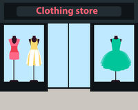 Showcase clothing store. Showcase women clothing store. Dresses on mannequins. Vector illustration Royalty Free Stock Photos