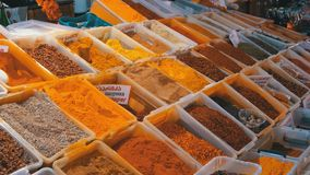 Showcase with colorful oriental spices and condiments on the street market. Batumi, Georgia. Cilantro, hot peppers, sweet peppers, saffron, turmeric, oregano stock footage