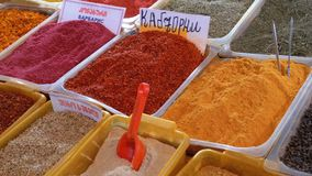 Showcase with Colorful Oriental spices and condiments on the Street market