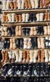 Showcase com os carregadores mornos do inverno Foto de Stock