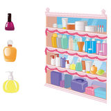 Showcase with cosmetics, perfume and makeup items royalty free illustration