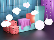Showcase cube displays. Exhibition space. Colorful showroom, blocks stacked together 3D illustration. Showcase cube displays. Exhibition space. Colorful showroom Stock Illustration