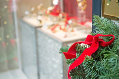 Showcase decoration with christmas tree Stock Photography