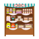 Showcase with desserts Stock Images