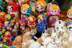 Showcase with dolls stock photos