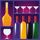 Showcase with drinks and glasses Royalty Free Stock Images