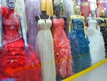 Showcase evening dresses Royalty Free Stock Photo