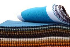 Showcase of fabrics. Colours fabrics showcase on a white background Royalty Free Stock Photography