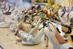 Showcase with female shoes Royalty Free Stock Photo
