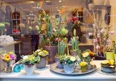 Showcase floral shop. stock photo