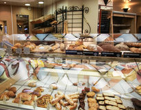 Showcase at the French bakery in paris Stock Images