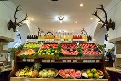 Showcase with fresh fruit in the Alois Dallmayr. Stock Photos